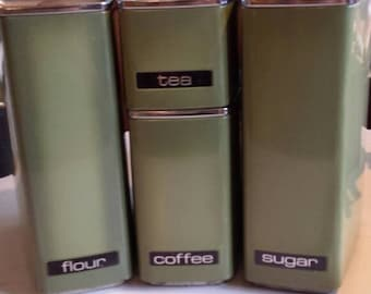Beautiful Retro Vintage Lincoln Beautyware Canisters Kitchen Set of 4 Avocado Green Metal chrome flour sugar tea coffee