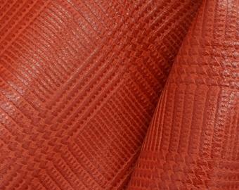 """Autumn Orange Plaid Leaves Leather Cow Hide 12"""" x 12"""" Pre-cut 1-2 ounces DE-63139 (Sec. 5,Shelf 6,A)"""