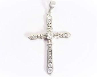 Beautiful Vintage Cubic Zirconia Sterling Cross Pendant