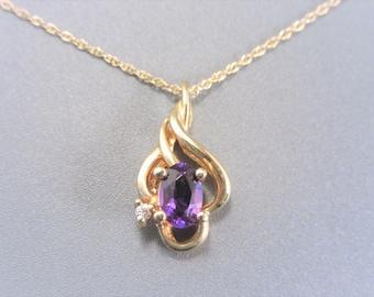 Vintage 14K Gold Amethyst Pendant Necklace
