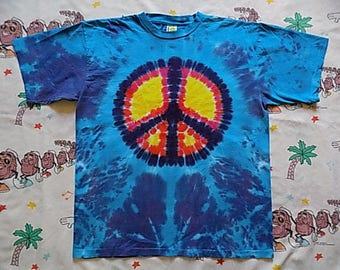 Vintage 90's Peace Sign tie dyed T shirt, size XL by Sundog USA made