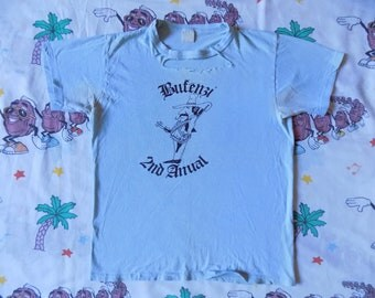 Vintage 80's 2nd Anual Bufenzi T shirt, size Small funny random cartoon Thrashed