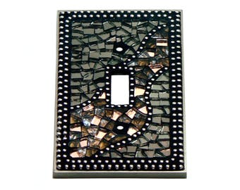 Mosaic Switch Plate - Light Switch Cover - Single Switch Plate - Brown Switch Plate - Silver Switch Plate - Light Cover