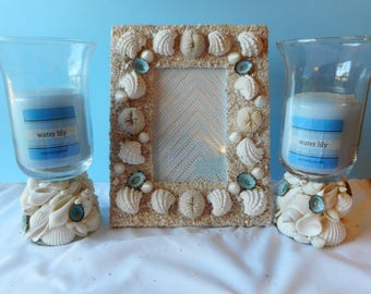 SeaShell Glass Votive Candle Holder-Beach Decor-Shell Candle Holder