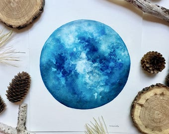 Blue Moon - Original Watercolor Painting