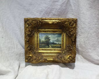 Original Oil Painting, Landscape, Heavy Rococo Ornate Frame