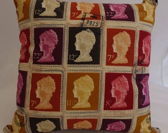Pillow - Postage Stamp design feature cushion, complete with cushion pad, zip fastening