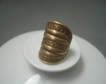 Kalevala Koru bronze viking style wide ring, Finland.