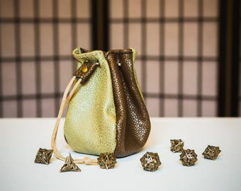 Four-Sided Leather Dice Bag - ONE OF A KIND Brown & Green Dragonskin