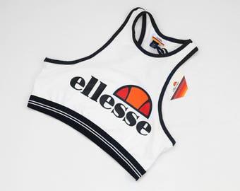Ellesse Violeta Bra Top optic white / Womens Cropped Bralet Top / Retro Heritage Vintage Sports Tennis Lifestyle tank top / size 10 M L