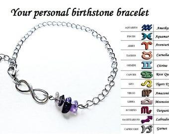 Personalized Birthstone Infinity Bracelet Custom Birthday Stone Zodiac Horoscope Sign Raw Gemstone Yoga Meditation Cut Rough Chain Jewelry