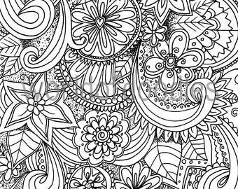Adult Coloring Page Rain Instant Download