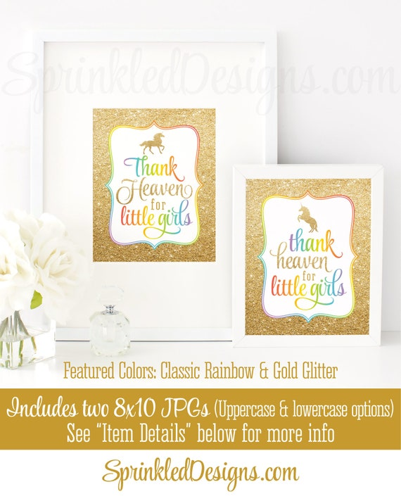 Thank Heaven for Little Girls Sign, Unicorn Baby Shower Decorations ...