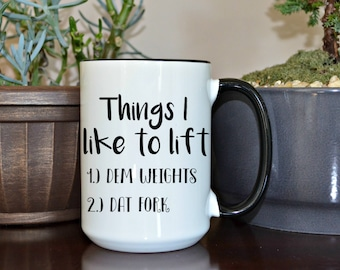 Things I like, Crossfit Gift, Funny Mugs, Custom Mugs, Funny Coffee Cup, Home and Living, Kitchen and Dining, Mugs