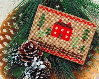 Christmas Homestead House Needleart, Snowy Rustic Woodland Needlepoint Farmhouse, Holiday Home Ornament