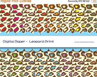 50% OFF Printable Digital Paper JPG & PDF File - Leopard Print Baby Rainbow Colors