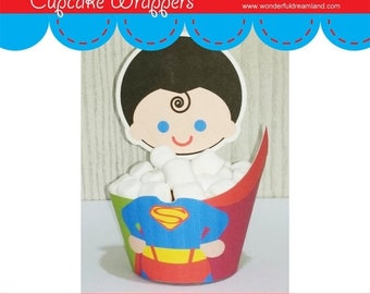 50% OFF Superhero Boy Cupcake Wrapper S1 - Instant Download Printable Digital PDF File