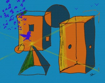 """Limited Edition Print.  """" Toys In My Attic #1 """" Digital painting, Wall art, Painting. Art print"""