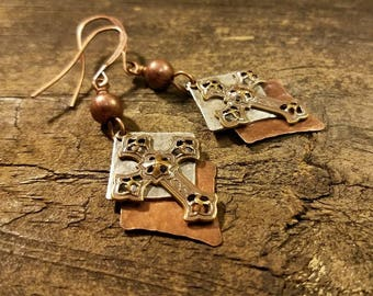 Cross Earrings, Mixed Metal Earrings, Copper Earrings