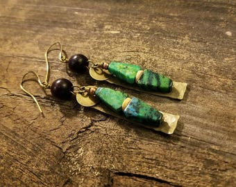 Boho Earrings, Turquoise Earrings, Bronze Earrings, Gemstone Earrings