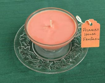 Princess House Teacup Soy Candle, Vintage Glass, Fantasia,      Jasmine Vanilla Fragrance, Handmade Coral Candle, Glass Teacup Candle