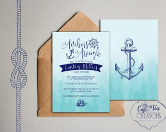 Anchors Aweigh Baby Shower Invitation, Anchors Away Baby Shower Invitation, Nautical Baby Shower Invitation, Nautical Invitation