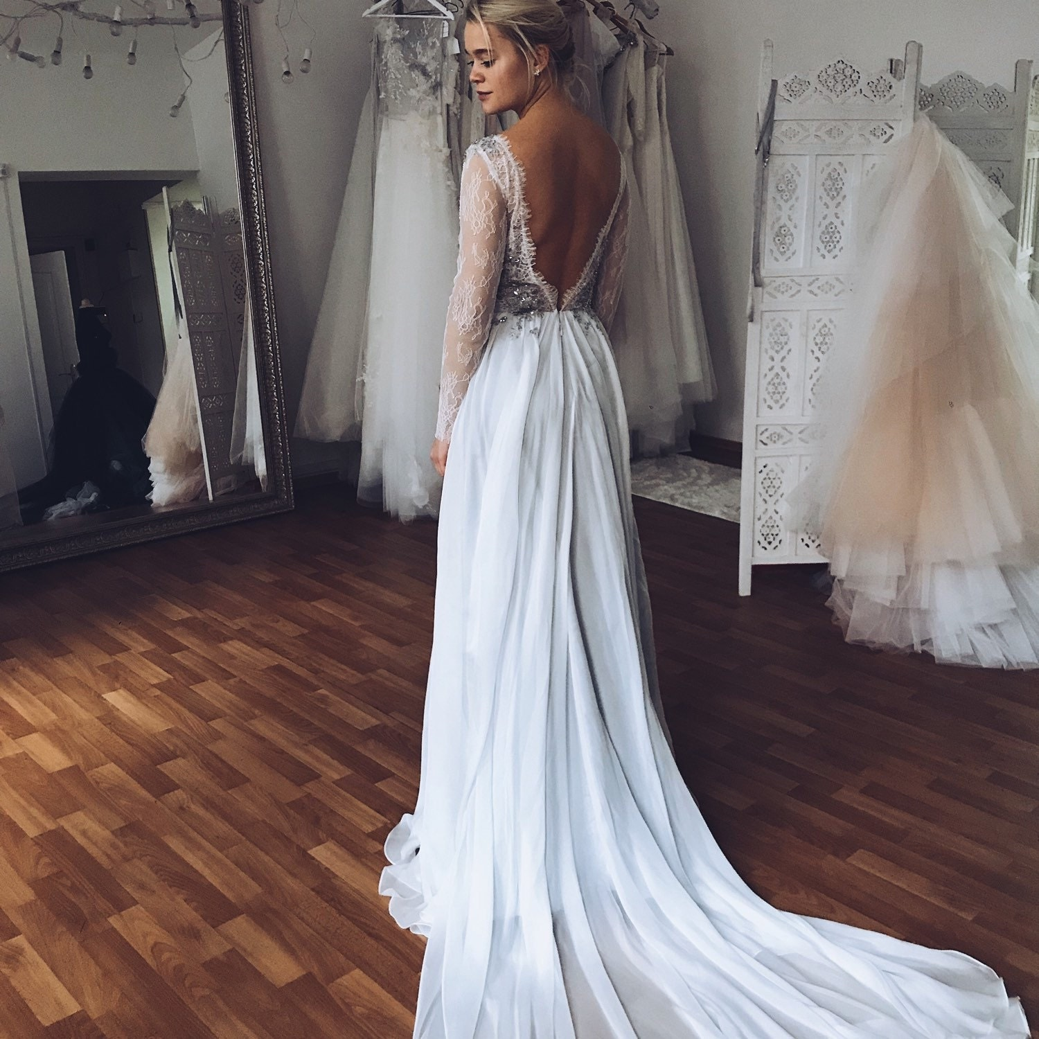 Silver gray wedding dress // Lobelia new/ Silk wedding gown
