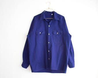 French Workwear Shirt, Vintage Long Sleeve Navy Blue Shirt, Industrial Work Shirt for Man, Cotton Workwear size Large