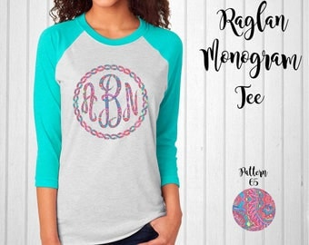 Monogram Shirt, Monogram Raglan Tee // Monogram T-Shirt in Pattern 65