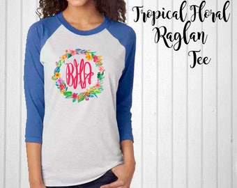 Monogram Shirt, Tropical Floral Monogram Raglan Tee, Antler Raglan, Monogram T-Shirt
