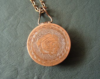 Locket Necklace, Hand-engraved