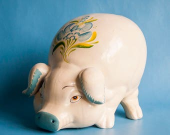 Vintage Large Cute Piggy Bank Money Box Cream and Blue with Flowers