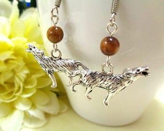 Silver Howling Wolf Earrings + Tigers Eye Beads, Wolf Charm, Silver Earrings, Animal Earrings, Gemstone Earrings, Wolf Jewelry, Tiger Stone