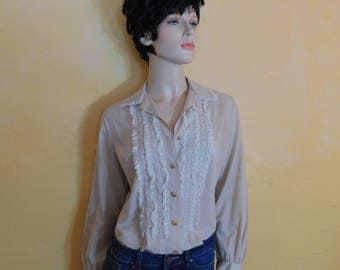 Vintage 60s Autumn Latte Semi Sheer Gauzy Cotton Lace Embroidered Blouse~ US Womens Medium/Large