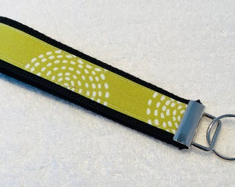 Green/White Print Key Fob Wristlet Key Chain