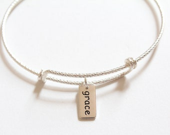 Sterling Silver Bracelet with Sterling Silver Grace Charm, Grace Bracelet, Grace Charm Bracelet, Grace Pendant Bracelet, Grace Word Bracelet