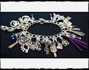 Purple Charm Bracelet with Flogger / Whip Charm // Fifty Shades of Grey Inspired // BDSM Gift // Cincuenta Sombras