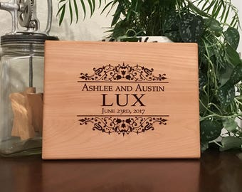 Monogram Cutting Board, Personalized Wedding Gift, Monogram Custom, Engagement Gift, Anniversary Gift, Engraved Wooden, Kitchen Decor