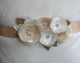 Rustic Wedding Sash, Ivory Gold Bridal Sash, Champagne Floral Belt, Burlap Sash, Rustic Sashes Belts, Wedding Dress Sash, Lace Burlap Belt