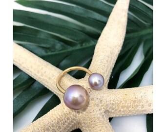 Socialite pink pearl adjustable ring