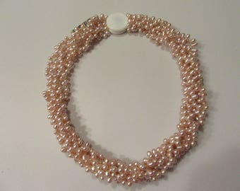 Freshwater Pearl Necklace Mother of Pearl Clasp 5 Strand Necklace