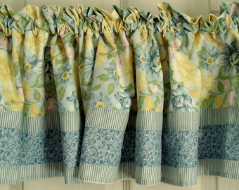 """Vintage Valance Yellow and Blue Valance Daffodil Valance Shabby Cottage Chic 88"""" Wide x 12"""" Long Floral Curtain Lined Vintage Curtain"""