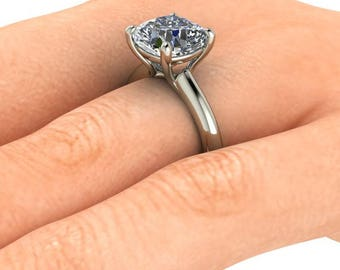 Solitaire Engagement Ring, 2.60 Carat Cushion Cut Forever One Moissanite, 14K White Gold  Diamond Alternative
