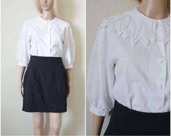 White Large collar blouse Lolita embroidered dolly collar Vintage Cotton blend Button up shirt Elbow length sleeves S Small UK 8 10 EUR 34