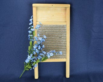 Vintage Wood Washboard with Tin Scrub Center Laundry Room Decor