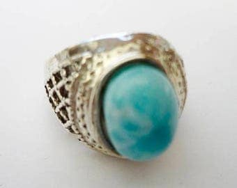 ENDLESS SUMMER SALE Stunning Genuine Aaa Grade Larimar Men's Ring .925 Sterling Silver  Free U.S. Shipping  U.S. Size 10