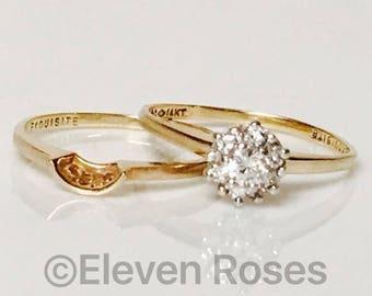 Vintage 585 14k Gold 1/3 Ct Diamond Bridal / Wedding Ring Set Free US Shipping