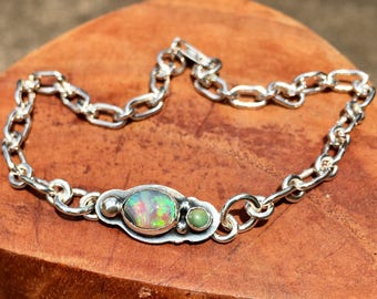 Natural Solid Australian Opal Bracelet with Handmade Soldered Sterling Silver Chain