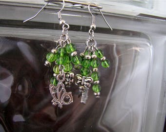 Beautiful Spring Green and Shining Silver Butterfly Cluster Earring Set - Item Number 5431