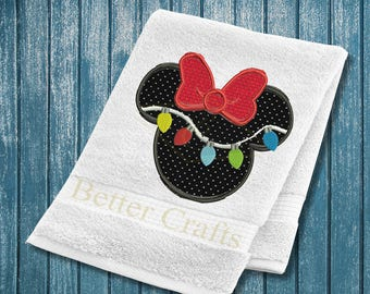 Minnie Mouse Christmas Lights Machine Embroidery Applique Design